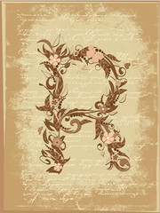 Floral letter on paper grunge