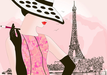 Tuinposter Illustratie Parijs fashion woman in Paris