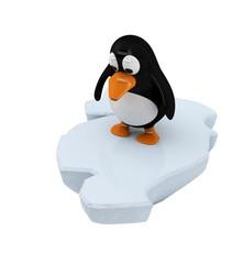 Pinguin auf Eisscholle (mit Freistellungspfad)