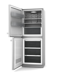 modern refrigerator with open doors isolated on white background