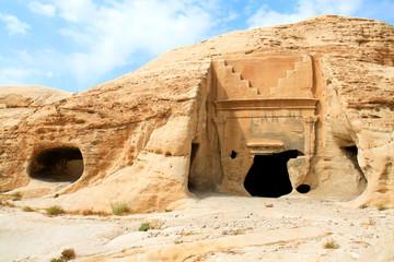 Cave temple in Petra.Jordan