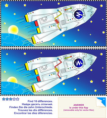 Deurstickers Kosmos Find the differences puzzle - space, rocket, Earth and stars
