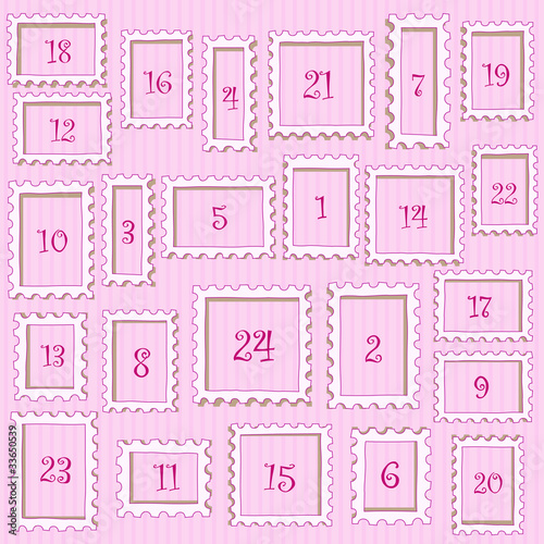 adventskalender rosa stockfotos und lizenzfreie vektoren auf bild 33650539. Black Bedroom Furniture Sets. Home Design Ideas