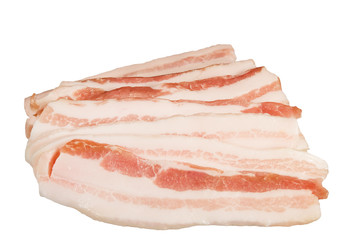 slices of bacon isolated on white