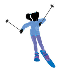 Skier Girl Illustration Silhouette