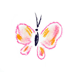pink butterfly simple illustration