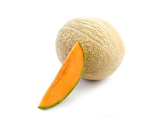 slice melon on white