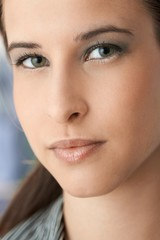 Facial portrait of beautiful young woman