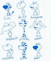 Исследование изображения животных на школьной тетради