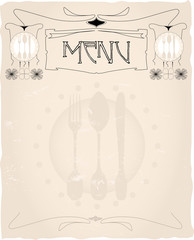 tasteful vintage menu card design layout,vector,free copy space