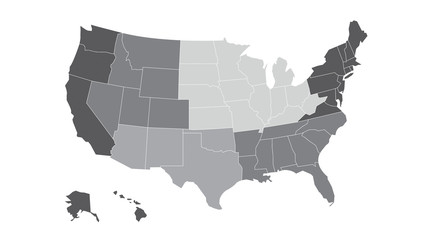 US regional map grayscale