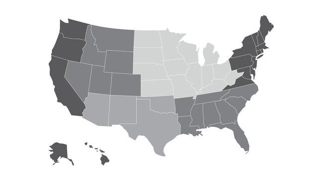 US regional map grayscale