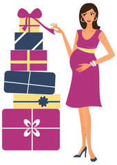Pregnant woman with gifts