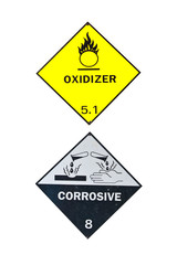 Corrosive and Oxidizer Sign