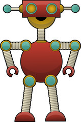 Spoed Foto op Canvas Robots Odd Colorful Robot Illustration standing with bent elbow