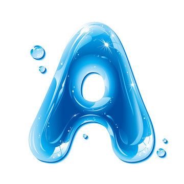 Water Liquid Letter - Capital A