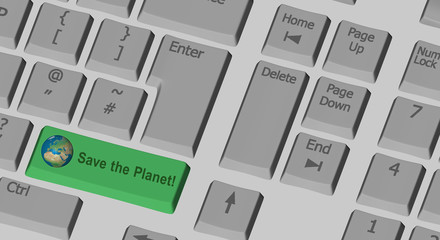 Save the Planet text on the computer keyboard