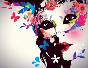 Poster Floral woman Girl with mask/Vector illustration