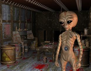 Alien im Versuchslabor