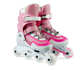 Pink inline rollerskates isolated on white