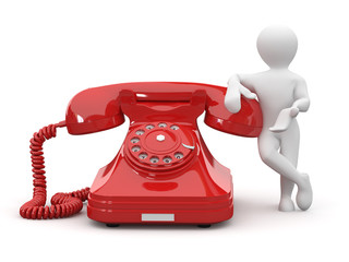 Contact us. Men with phone. 3d