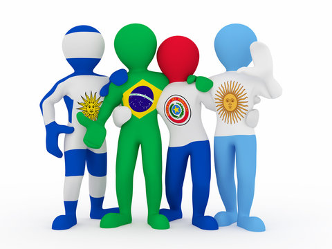 Mercosur. People in color of national flag.