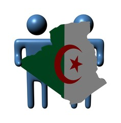 abstract people holding Algeria map flag illustration