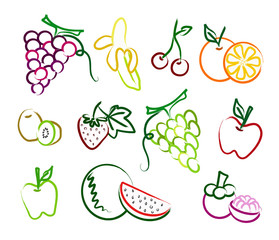the set of fruit painting icon