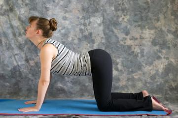woman doing Yoga posture Bitilasana or cow pose