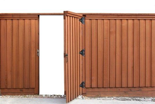 Opening door in a wood fence