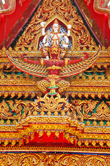 the carving decoration in buddhist temple, thailand