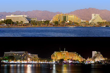 Night and day panoramic view on Eilat (Israel)