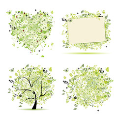 Spring style - tree, frame, bouquet, heart for your design