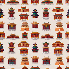 cartoon Chinese house seamless pattern.