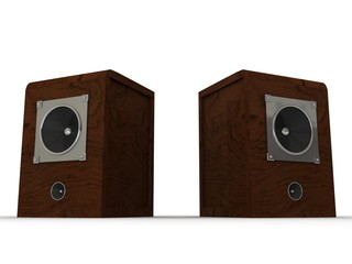 wooden classic musical speakers