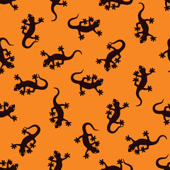 Seamless Gecko Pattern in Indonesian style