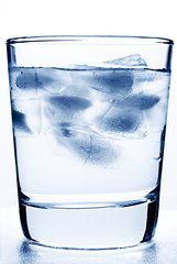 Glass of cool water with ice