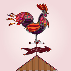 crowing rooster on house roof