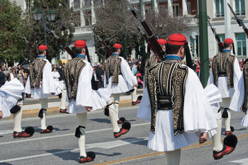 Evzones in Greek military parade