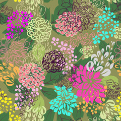 Multicolored floral seamless background.