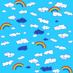 background with clouds and a rainbow