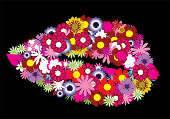 vector floral lips