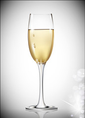 vector a glass of white wine on a gray background
