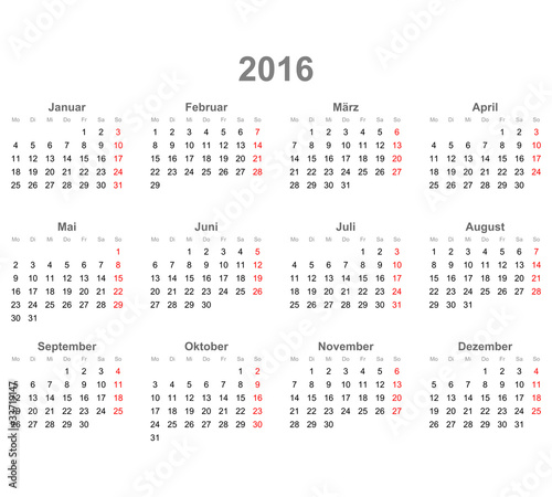 """Kalender quer 2016"" Stock image and royalty-free vector ..."