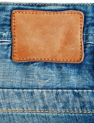 Close-up blue denim with label .