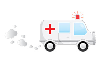 White medical cartoon moving bus