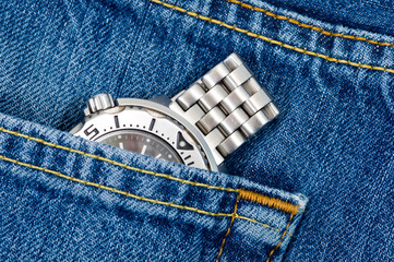 Diver watch inside pocket jeans.