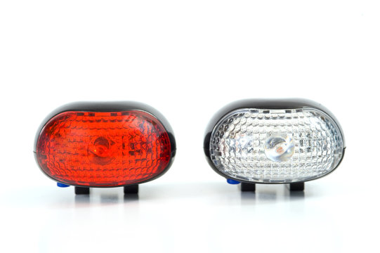 bicycle lamp on white background