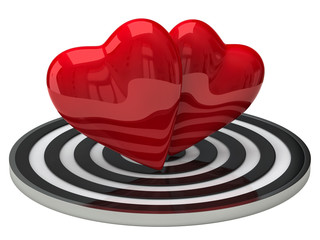 Two red hearts and target
