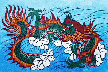 tradition Chinese painting on Chinese temple wall